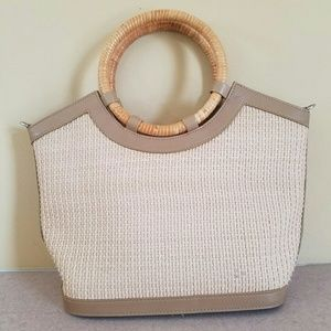 Fossil/ tan and beige bag with loop handles